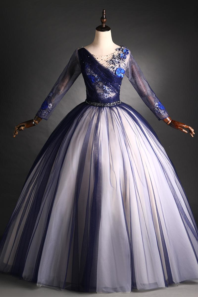luxury navy lace embroidery beading long sleeve court dress medieval Renaissance Victoria gown/EVENT