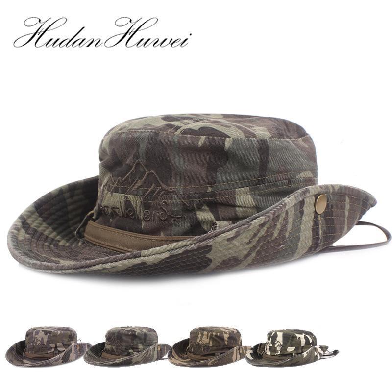 Cloches Katlanabilir Erkekler Kamuflaj Pamuk Kamp Kova Şapka Açık Geniş Ağız Balıkçı Boonie Şapka Unisex Seyahat Güneş Koruma