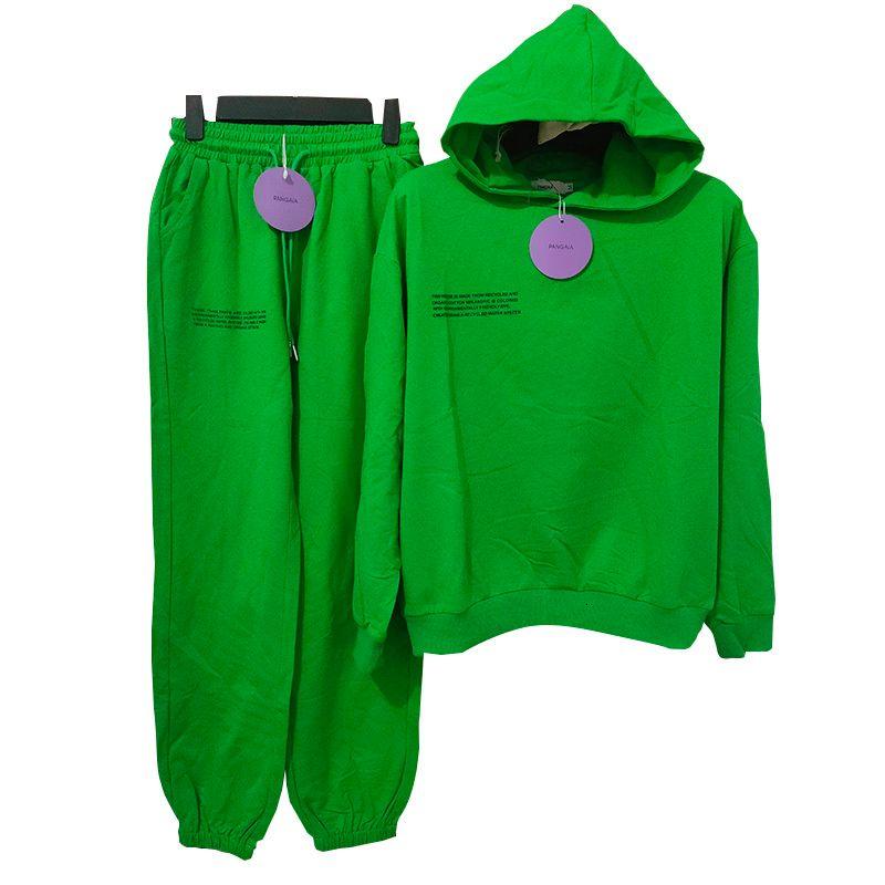 Pangaia saf pamuk ince bahar ve yaz kumaş kapüşonlu tişörtü hoodies parça pantolon kadın giyim eşofmanları iki parça setleri