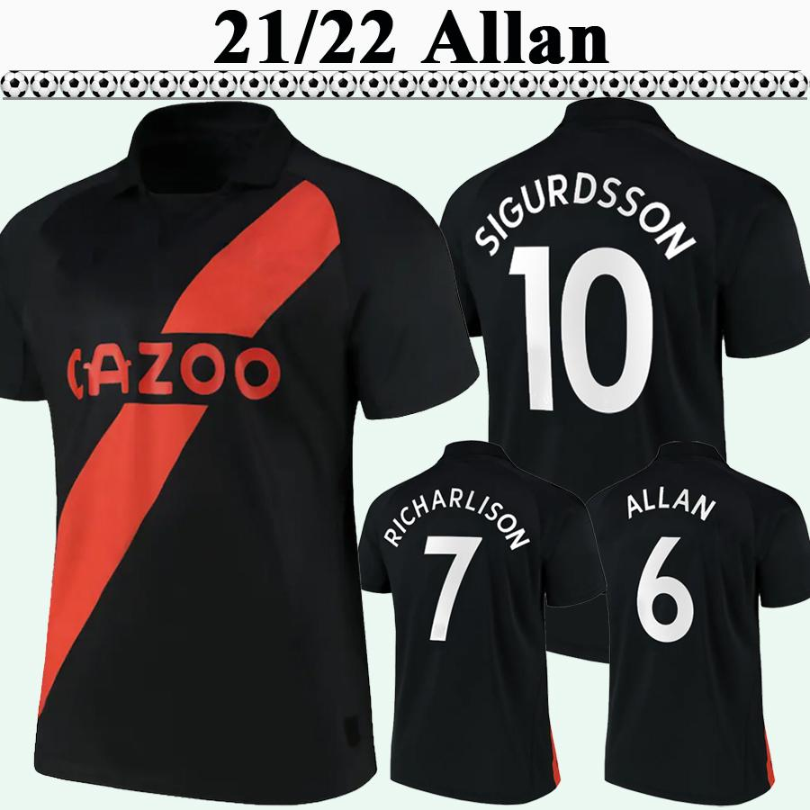 21 22 Keane Allan Hommes Soccer Jerseys Sigurdsson Y. Mina Andre Gomes Accueil 3ème Shirt de football Richarlison Digne Doucoure manches courtes