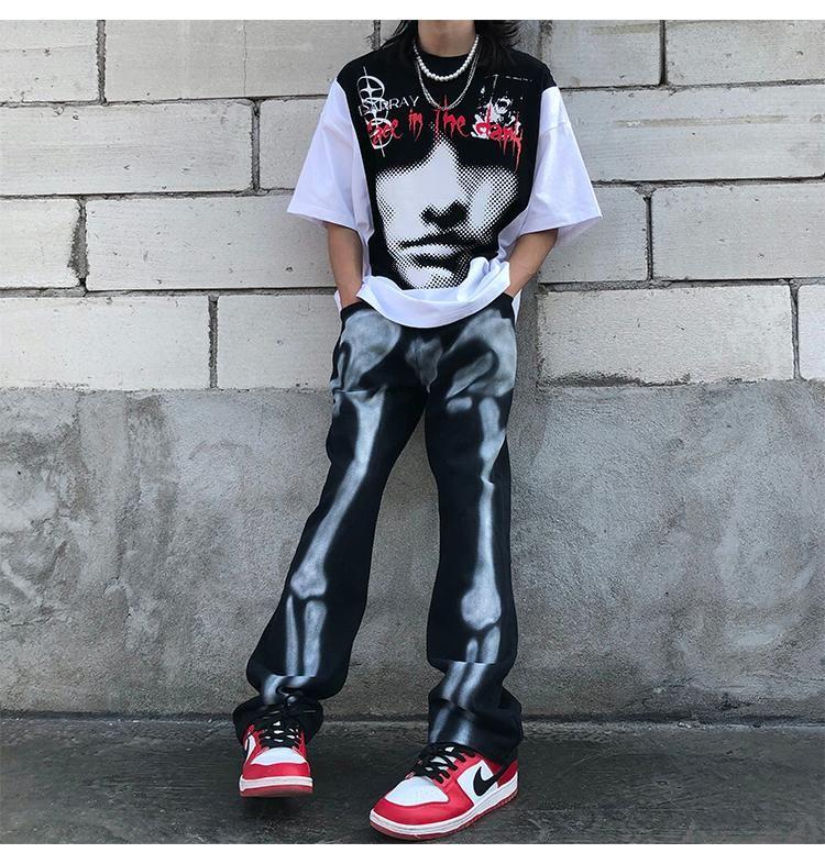Jeans Masculinos 2021 Calças De Designer Homens Roupas Mulheres Streetwear Graffiti Calças Esqueleto Denim Hip Hop T2-A213