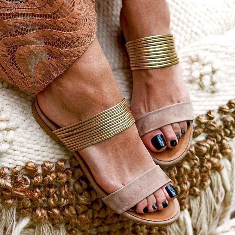 Mulheres Sandálias Roma Sapatos Mulheres Verão Retro Flockpu Womens Gladiator Senhoras Partido Escritório Praia Slides