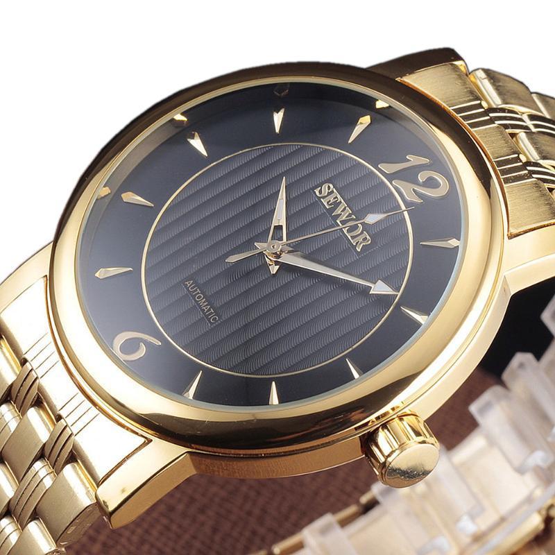 Erkekler El Rüzgar İskelet İzle Paslanmaz Çelik Bant Mekanik Resmi Saat Siyah Altın Adam Elbise Saatı