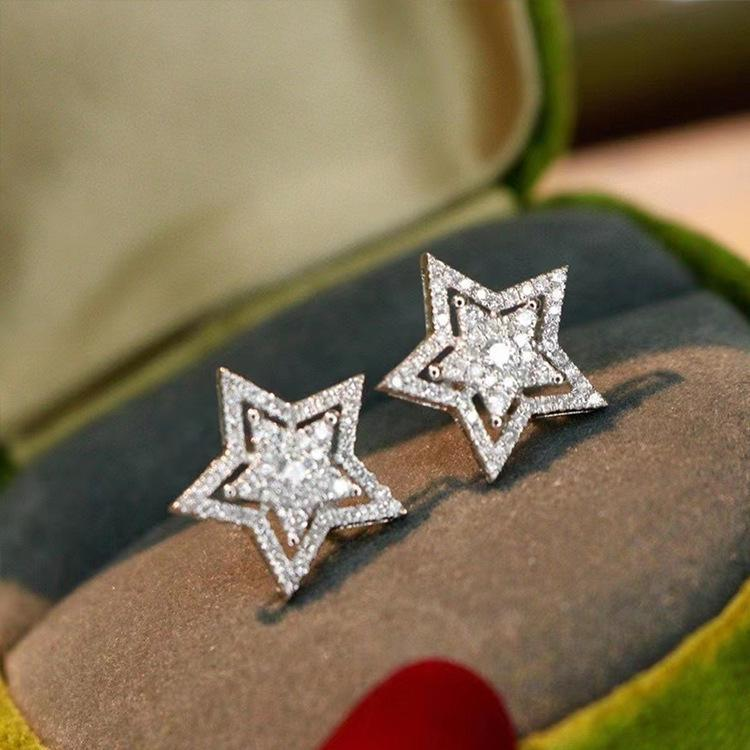 Stud Brilliant Crystal Star Earrings Women Full Paved White Cubic Zirconia Simple Stylish Earring Versatile Fashion Jewelry