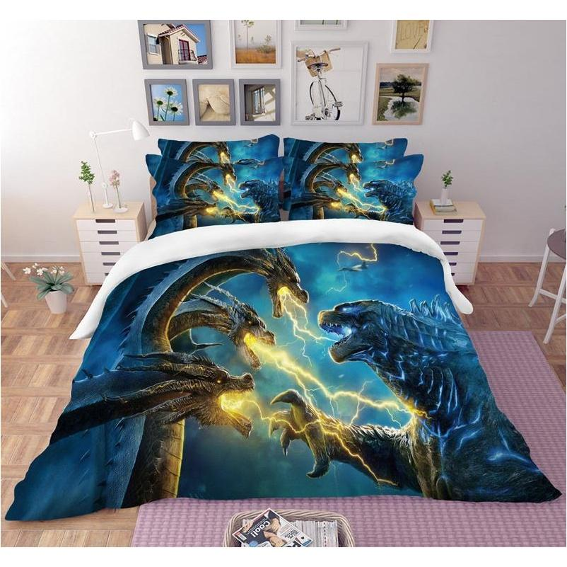 Supplies Textiles Home & Garden Drop Delivery 2021 Godzilla 3D Duvet Covers Pillowcases Comforter Bedding Sets Gojira King Of Monsters Bedclo