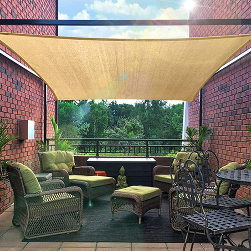 Soleil Sun Nail Rectangle Beige UV Protection Tendances à couverts avec 4 cordes pour jardin de jardin extérieur Pelunique de jardin