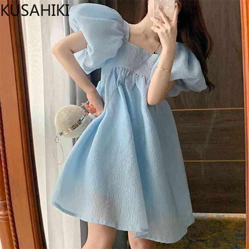 Süße Hauchhülse Quadratische Kragen Frauenkleid Hohe Taille A-Line Vestidos Femme Sommer Fliege Backless Kleider 6h601 210603