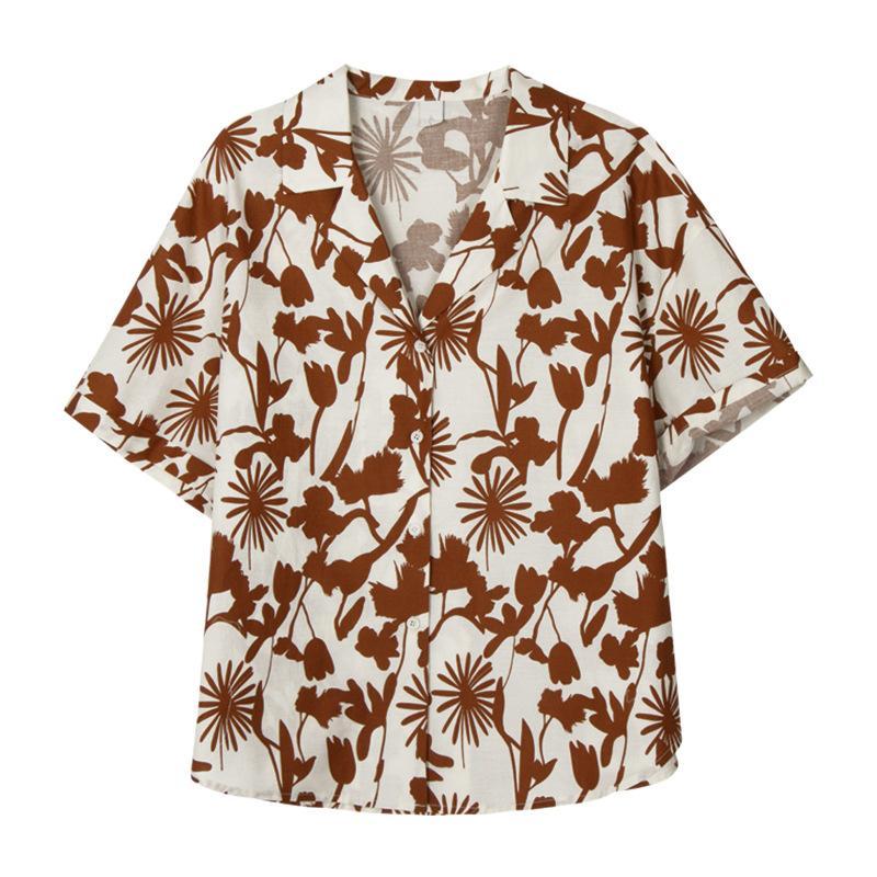 Hawaiian Flower Shining shirts T original skinny national tide Women's Blouses