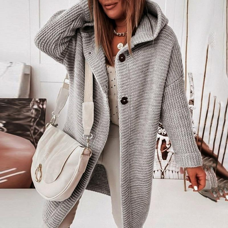 Women Mid-length All-match Cardigan 2021 Korean Fashion Loose Batwing Sleeve Sweaters Autumn Hooded Woman's Jacket