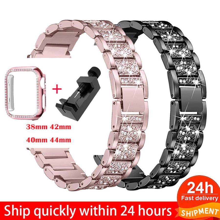 ووتش الفرقة + حالة حزام معدني ل أبل ووتش سلسلة 6 حزام 40 ملليمتر 44 ملليمتر watchbands الماس الدائري 38 ملليمتر 42 ملليمتر الفولاذ المقاوم للصدأ سوار iwatch se 4 3 1 العصابات