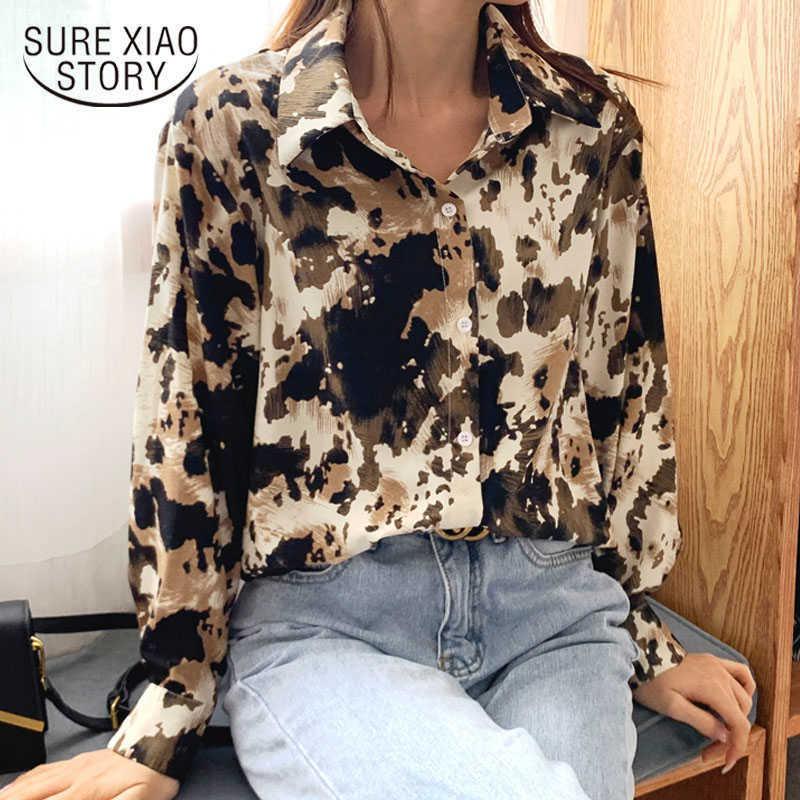 Spring Long Sleeve Ink Smudge Chiffon Shirts Vintage Print Women Blouses Fashion Loose Cardigan Tops Clothes Blusas 9148 50 210527