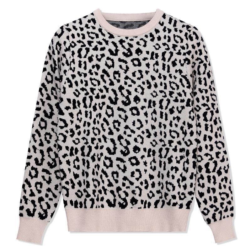LY Leopard Frauen o Hals Pullover 2021 Herbst Winter Dicke Warme Pullover Top Weiche Weibliche Jumper Strickwaren Outfits Ziehen Frauenpullover