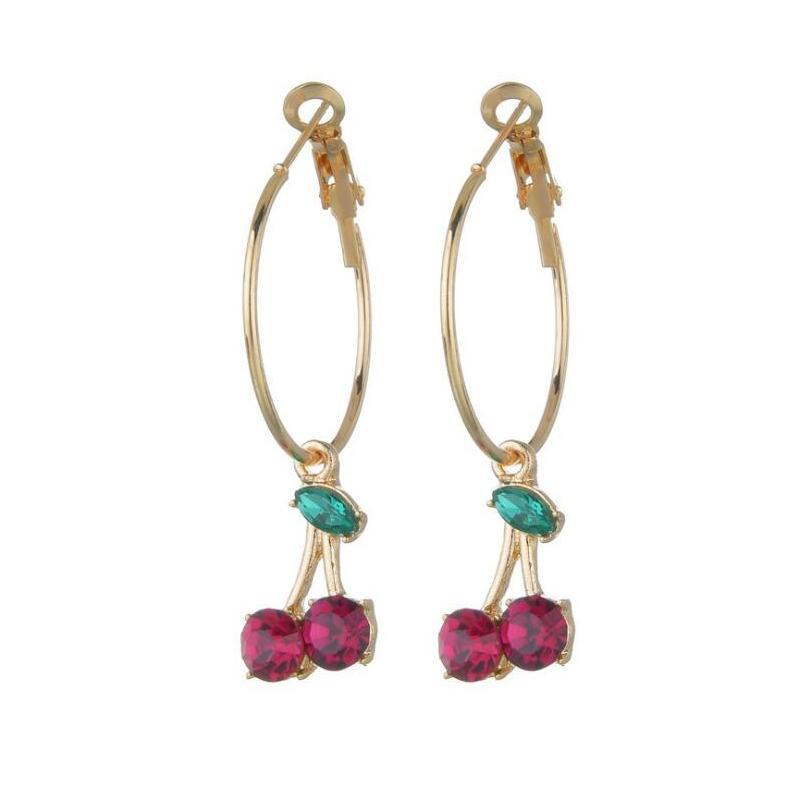 Simple Design Red Diamond Cherry Backs For Women Fashion Cute Piercing Earring Sweet Romantic Jewelry Girls GIfts