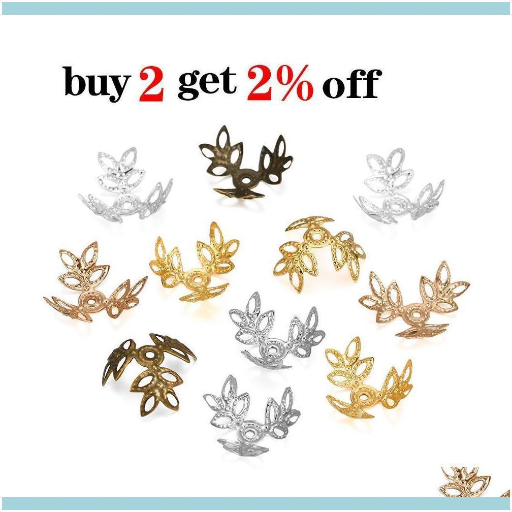 Connectors & Components Jewelry100Pcs Lot 16X16Mm Metallic Kc Gold Three Leaves Spacer Beads End Cap For Diy Jewelry Making Bracelet Finding