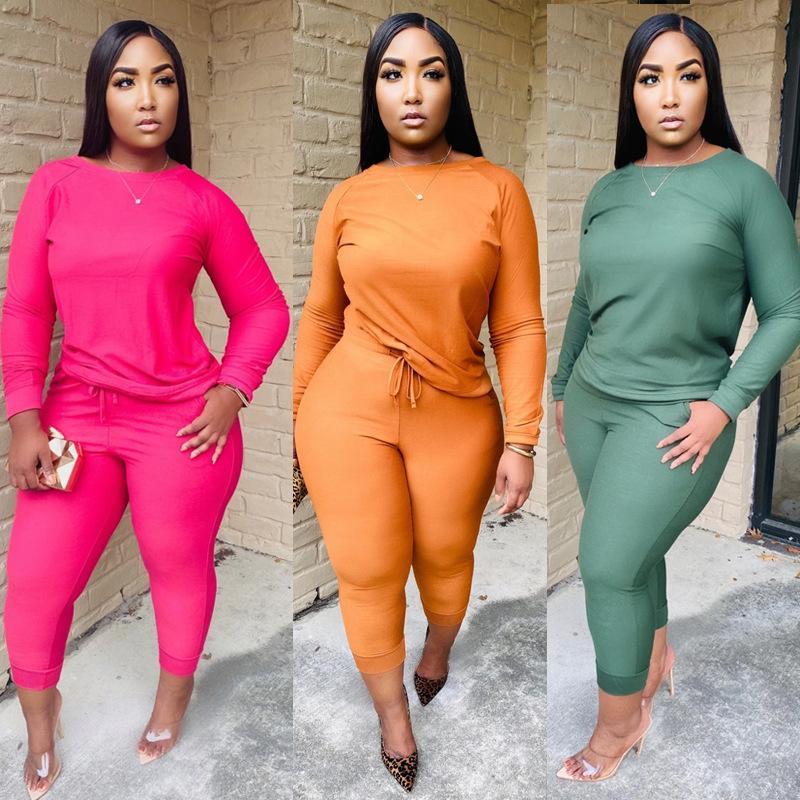 Setzt lässig solide mode schulter lange zwei farbe flat outfits t hülse damen designer hosen frauen stück shirts hosen passt txlqv