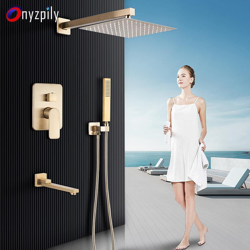 Brushed Gold Rainfall Shower Set Faucets In Wall Ultrathin ShowerHead Bath Mixer With Embedded Box Handshower Rotate Watering Bathroom Sets