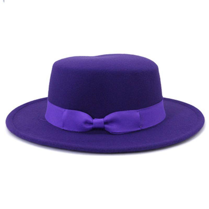 women hats white beige black panama flat top felted hats ribbon band bowknot outdoor men caps casual formal wedding women hats