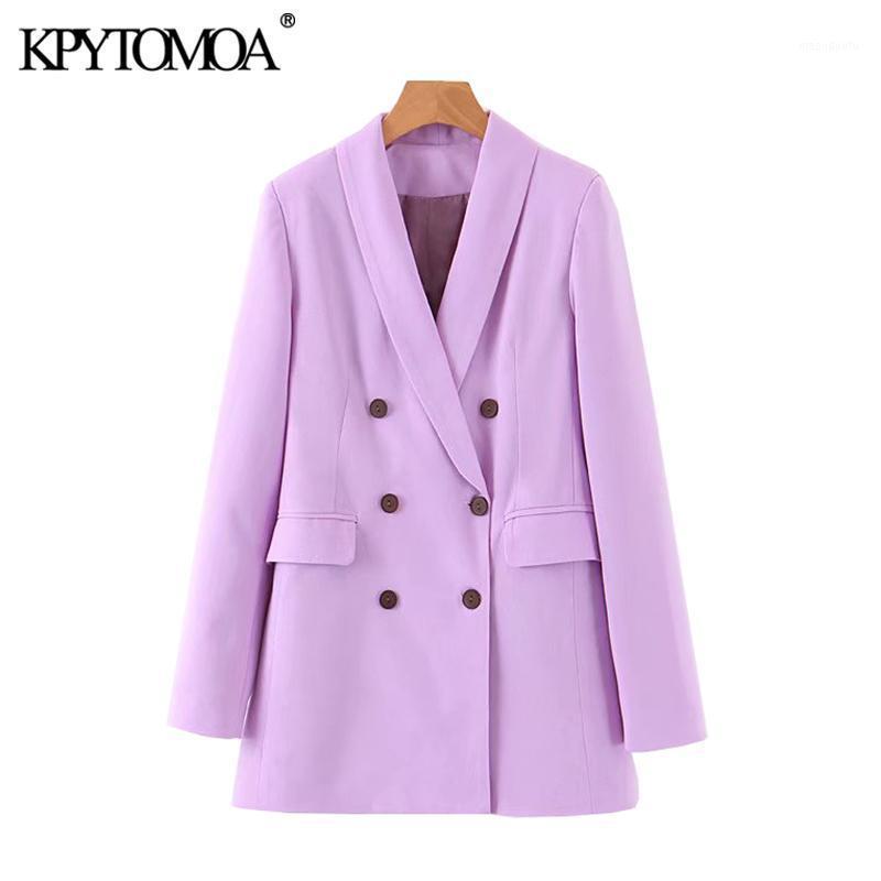 KPYTOMOA Kadınlar 2020 Moda Ofis Kıyafet Çift Göğüslü Blazers Ceket Vintage Uzun Kollu Cepler Kadın Giyim Şık Tops1