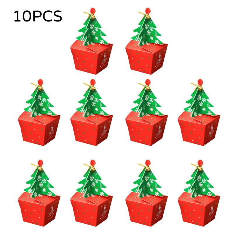 Gift Wrap 10pcs Merry Christmas Exquisite Box With Bell Party Paper Favour Sweets Candy Bags Festival Decoration