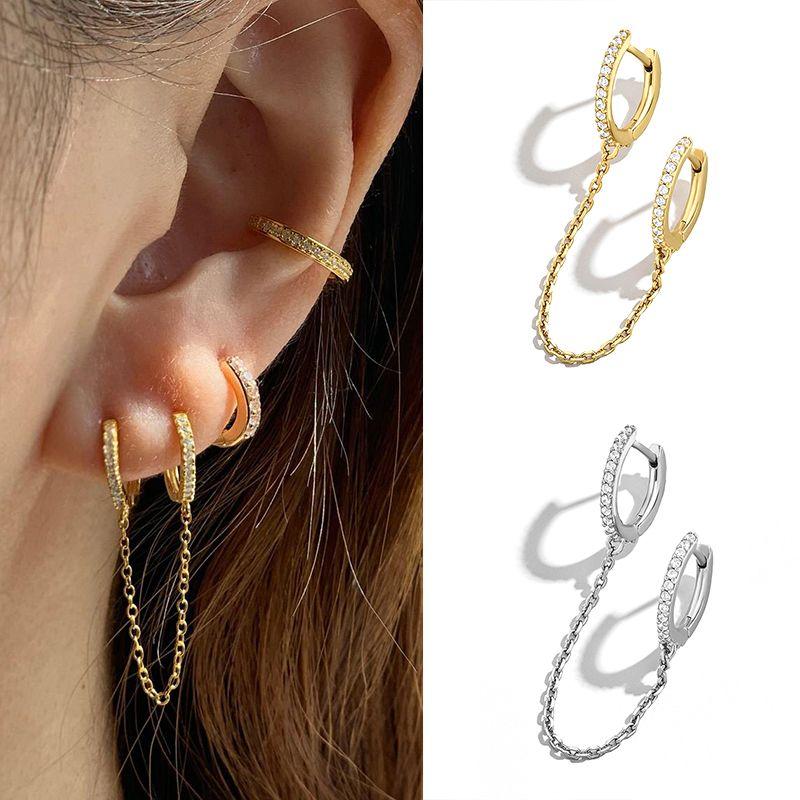 925 encanto de plata esterlina Dos orejas Piercing Pendientes de aro Pendientes Cadena Tassel Crystal Simple Bohemia para Lady Girls