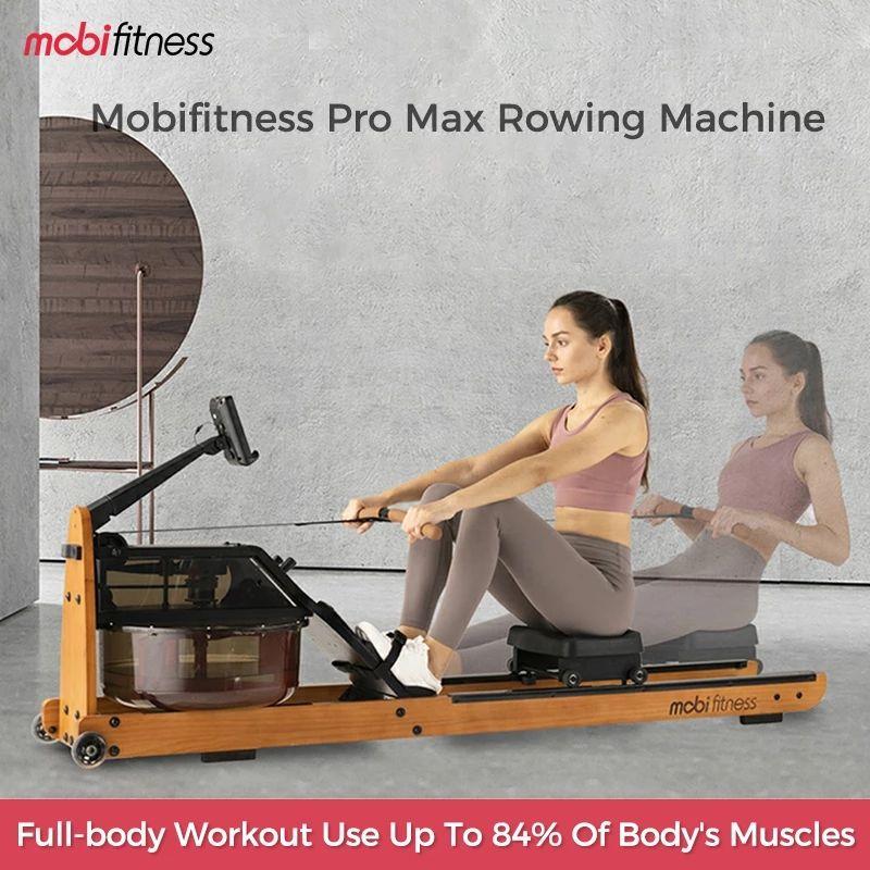MobiFitness Pro Max máquina de remo de água Experiência de barco confortável estilo de luxo estilo de fitness exercício de corpo inteiro