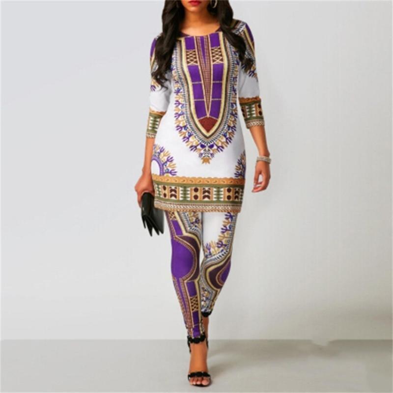 الفساتين الأفريقية للنساء 2021 ثانية أعلى السراويل دعوى dashiki طباعة السيدات الملابس رداء africaine bazin أزياء الملابس العرقية