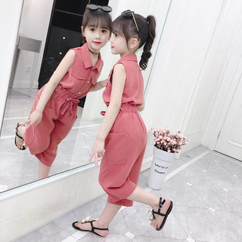 Fashion Kids Girls Outfit Suit Children Clothes Set Solid Casual Shirt Tops Shorts Pants 2Pcs Clothing Summer Sets