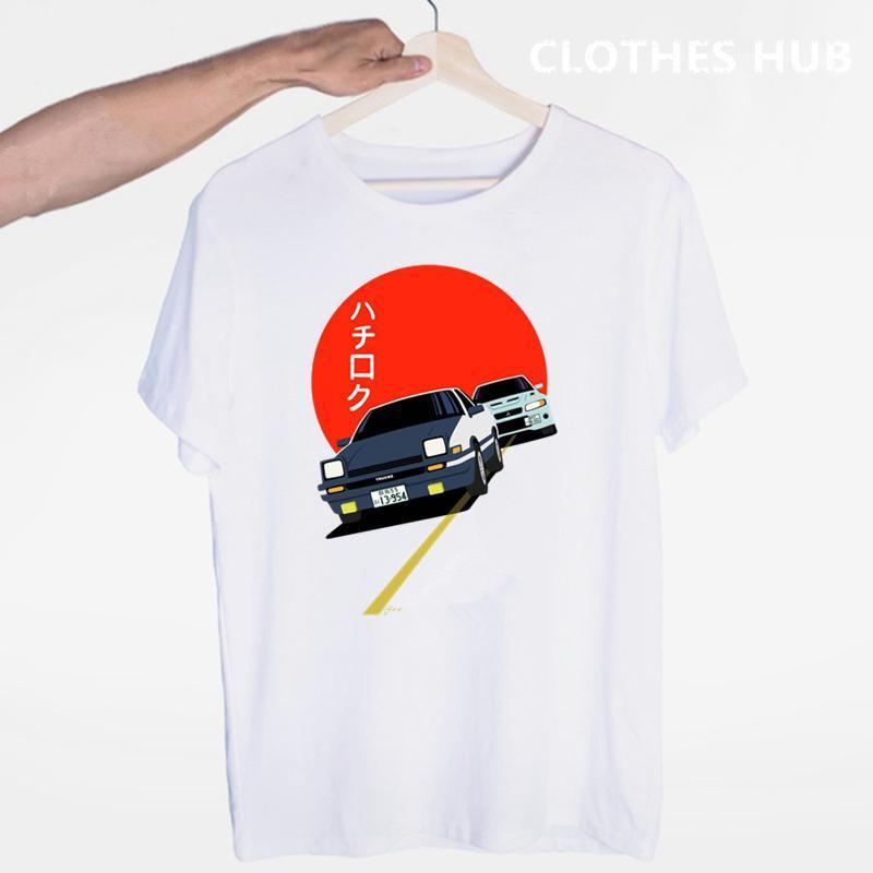Drift Japonês Anime AE86 Inicial D Camiseta O-pescoço Mangas Curtas Verão Moda Casual Unisex Homens E Mulheres Tshirts Homens Camisetas