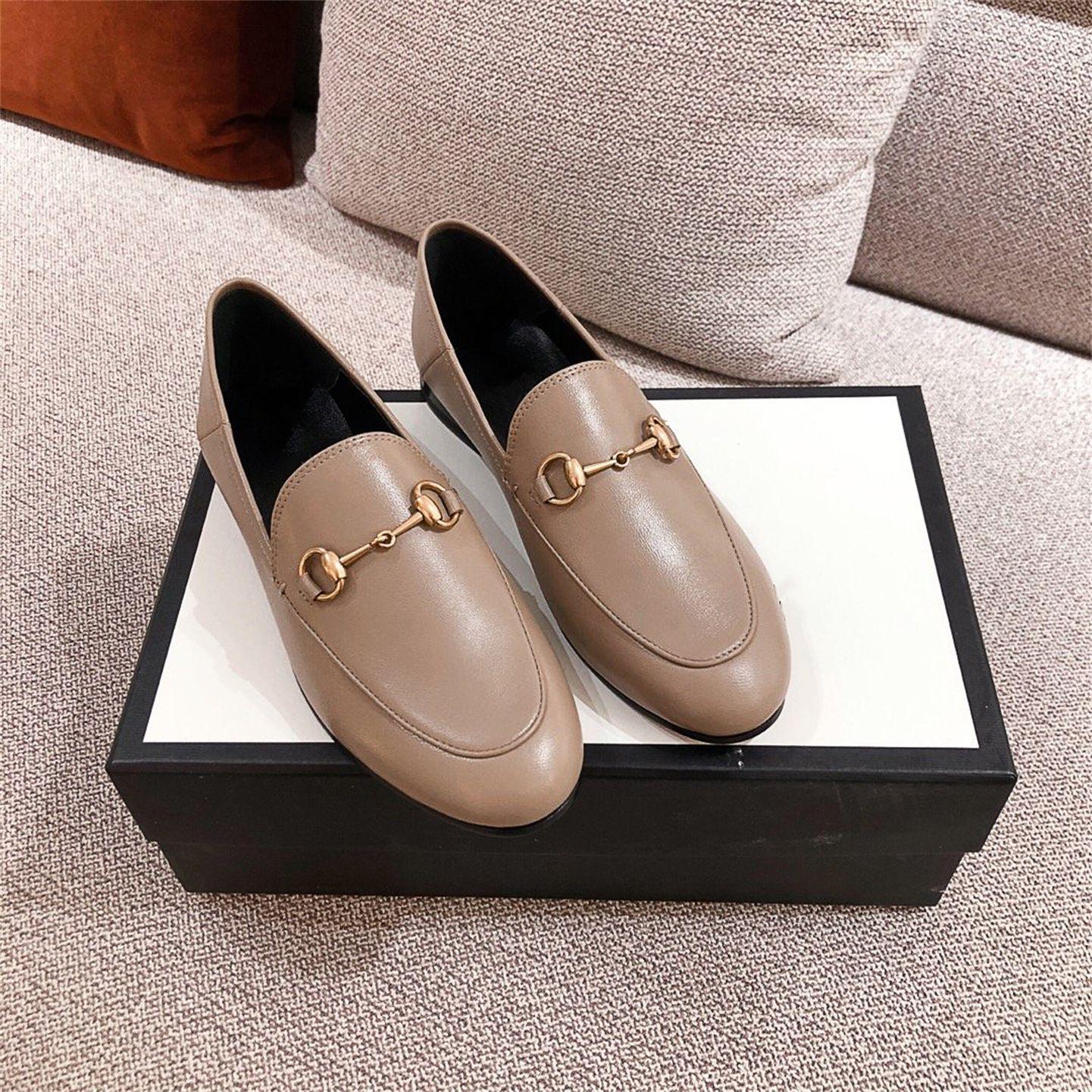 gucci Tasarım anlamda loafer'lar kadın İngiliz tarzı ayakkabı 2021 ilkbahar ve sonbahar retro küçük deri kalın topuk şarkı üzerinde basılı olabilir