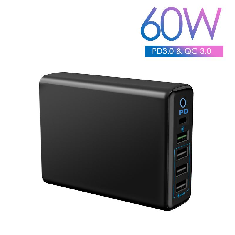 5-Port Multi-Port USB Wall Charger 60W MAX 9A with PD QC3.0 Port 18W Smart Charging Station for Mobile Phone Tablets iPad