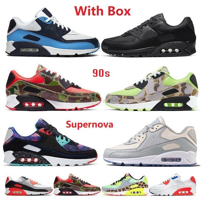 상자 90 러닝 신발 90 년대 남성 여성 쿠션 Chaussures Camo UNC USA 볼트 슈퍼 노바 트리플 화이트 블랙 망 트레이너 야외 스포츠 2021 ##