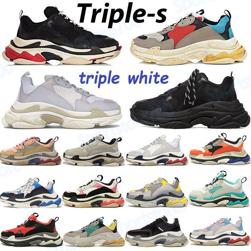 Triple S Casual Shoes Sneakers Platform Sneakers Beige Vert Gris Jaune Gris Rouge Bleu Candy Rose Rose Gold Violet Hommes Femmes Entraîneurs de 6 couches