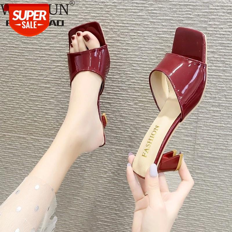 2021 Summer Women's Flip Flops Square Toe Ladies Heel Mules Sexy Thick Heels Sandals Slippers Female Fashion Woman Shoes #5Z6y