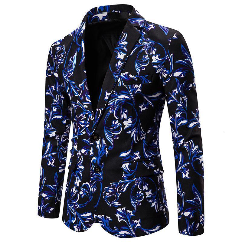 Black Blue Floral Casual Hommes Mariage Tuxedo Blazer Scène Scène Suit Veste Masculino Slim Fit Dance Party Homme