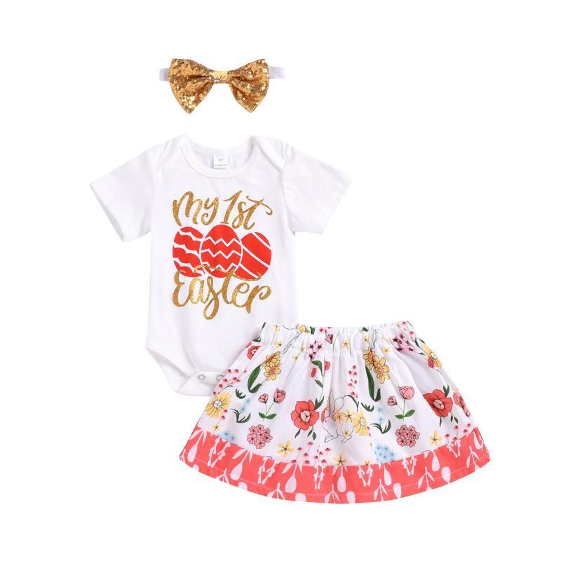 Baby Mädchen dreiteilige Anzug Brief Drucken Kurzarm Strampler + Blumenrock Headwear für Ostern Geburtstagsfeier Täglich Kleidung Kleidung Sets