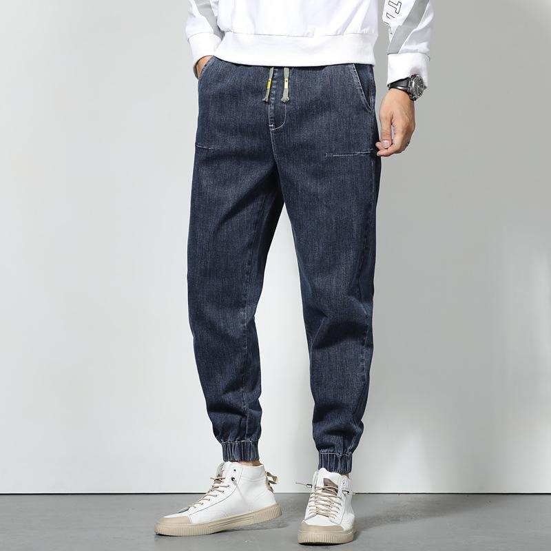 Masculinos jeans logotipo tamanhos maiores de outono haroun calças homens estiramento elástico cintura de cintura pé calças soltas
