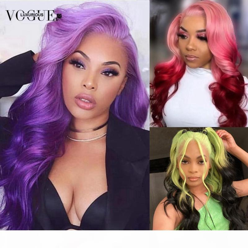 Perruque avant en dentelle de la dentelle pourpre avec bébé cheveux bleu rose 180% platefeulée Brésilienne Remy Human Hair Dentelle Perruques frontales pour femmes noires