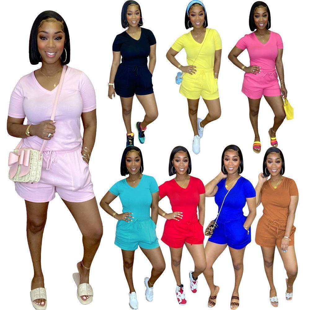 Frauen Mode Kleidung Sommer Casual Anzug Beliebte V-Ausschnitt Shorts Anzug Pocket Shorts Zweiteiler Anzug Die neue Liste