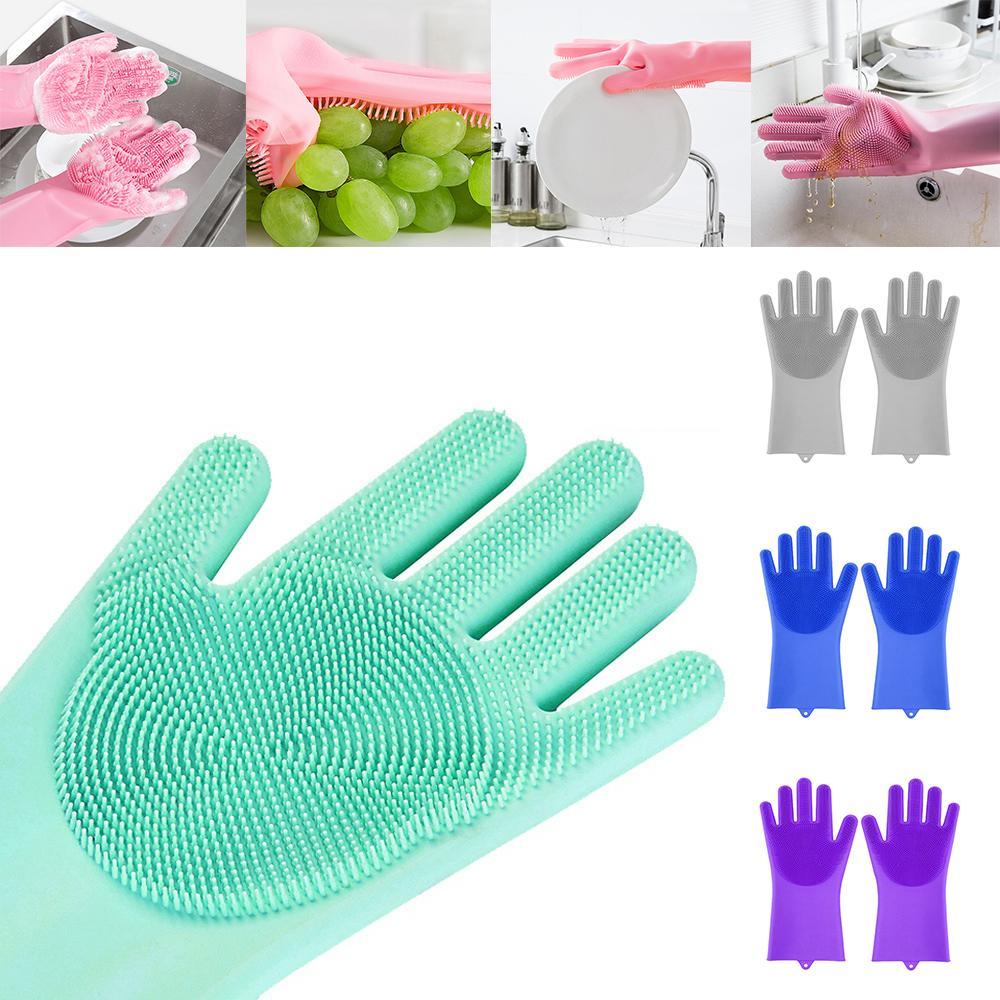 قفازات سيليكون مع فرشاة قابلة لإعادة الاستخدام سلامة سيليكون سيليكون غسيل قفاز مقاومة للحرارة القفاز مطبخ تنظيف أداة W-00856