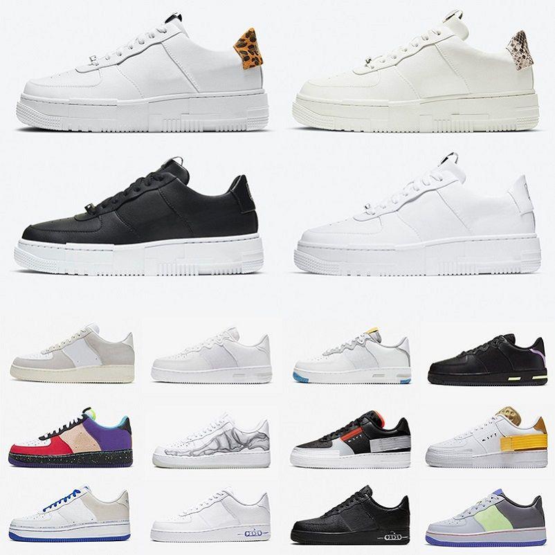Nike air force 1 af1 Fashion Pixel dunk رجل احذية الجري ليوبارد طباعة شراع ثعبان أسود أبيض Ghost shadow dunks N354 منصة منخفضة للرجال والنساء أحذية رياضية 36-45