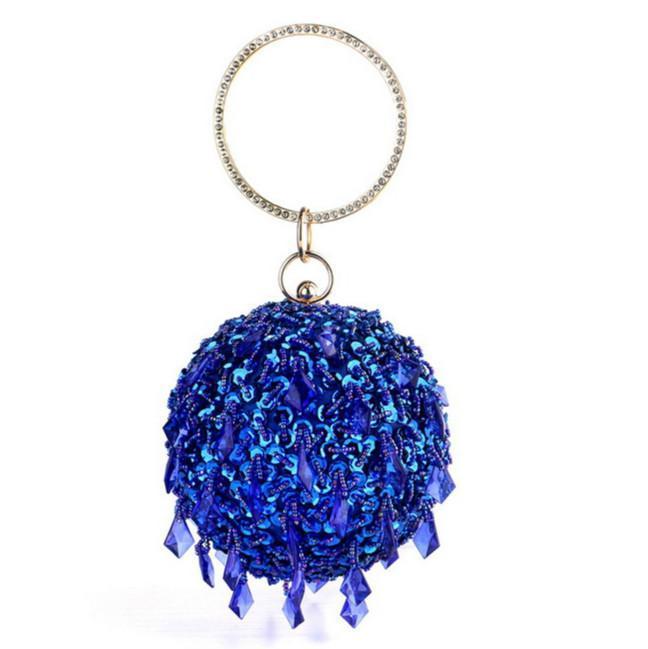 Grânulos de luxo borla em volta de sacos de noite para as mulheres bolsas círculo círculo casamento banquete festa de embreagem saco de moda bolsa de moda c0308