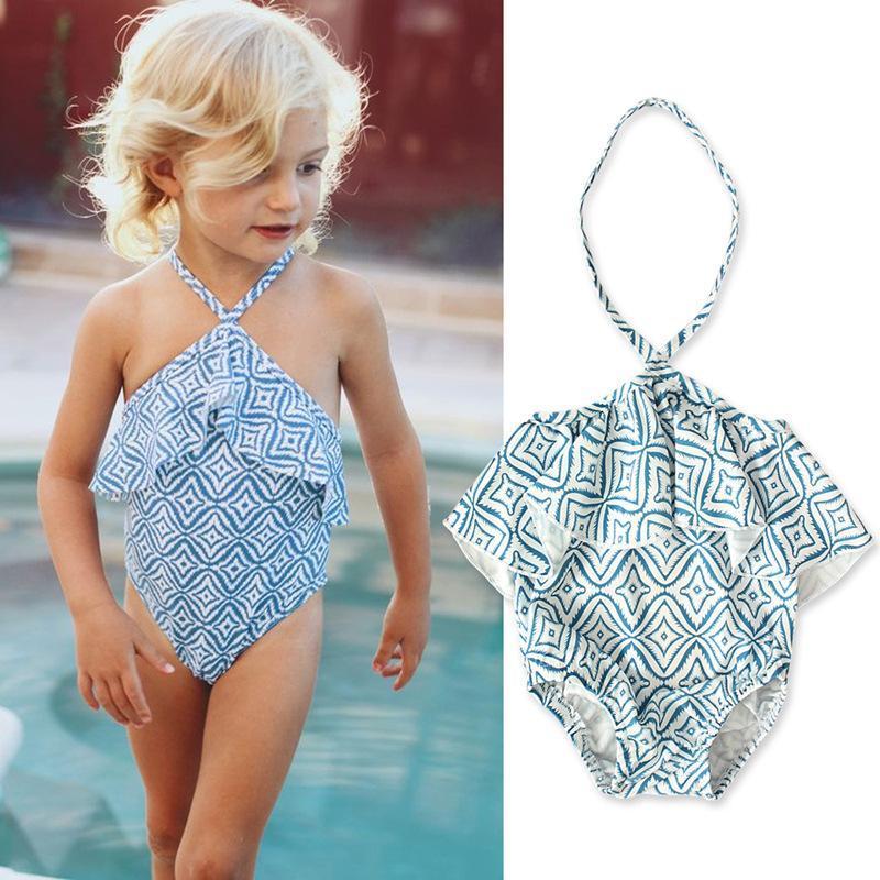 여자 여름 옷을위한 러프 아기 수영복 여름 옷 2021 비키니 키즈 수영복 비치웨어 소녀 수영복 1-4Y 1 조각