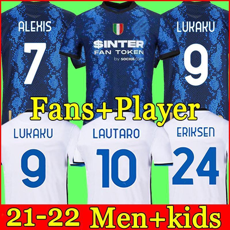 21/22 Inter Soccer Jersey Lukaku ميلان Vidal Barella Lautaro Eriksen Alexis Hakimi 21 22 قميص كرة القدم 2021 2022 زي الرجال