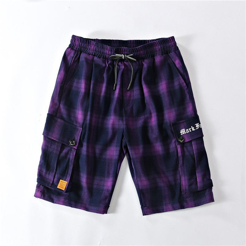 Pantalones cortos para hombres Stripe de verano a cuadros moda hombres cordón Casual Pantalones sueltos de alta calidad 2021