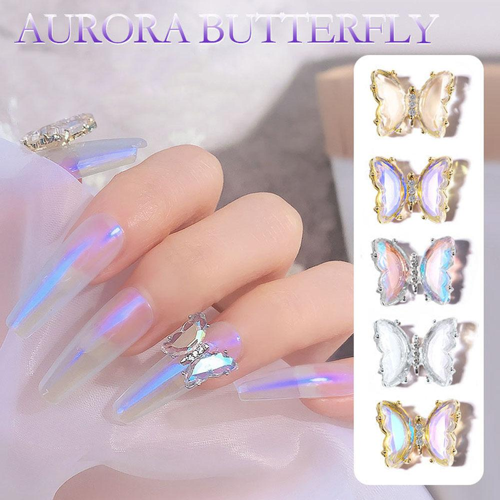 Ins Wind Ice Transparent Aurora Butterflies DIY Nail Art Decorations Accessories Three-Dimensional Crystal Butterfly Nail Drill