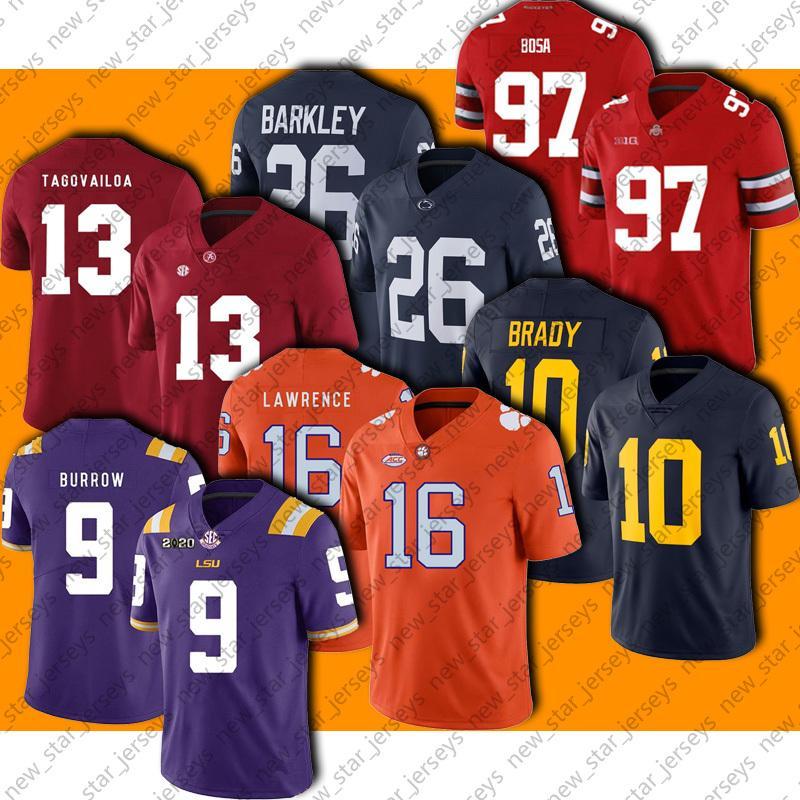NCAA College 16 Trevor Lawrence Jersey Football 9 Joe Burrow 13 Tua TuaVailo Jerseys 10 Tom Brady 26 Saquon Barkley 97 Nick Bosa Jersey