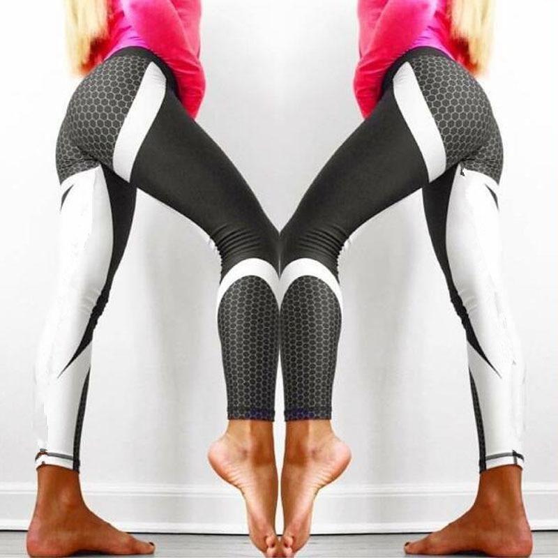 Women's Leggings Woman Bumps Style Printed High Waist Pants Patchwork Leggins Big Size Elastic Fitness