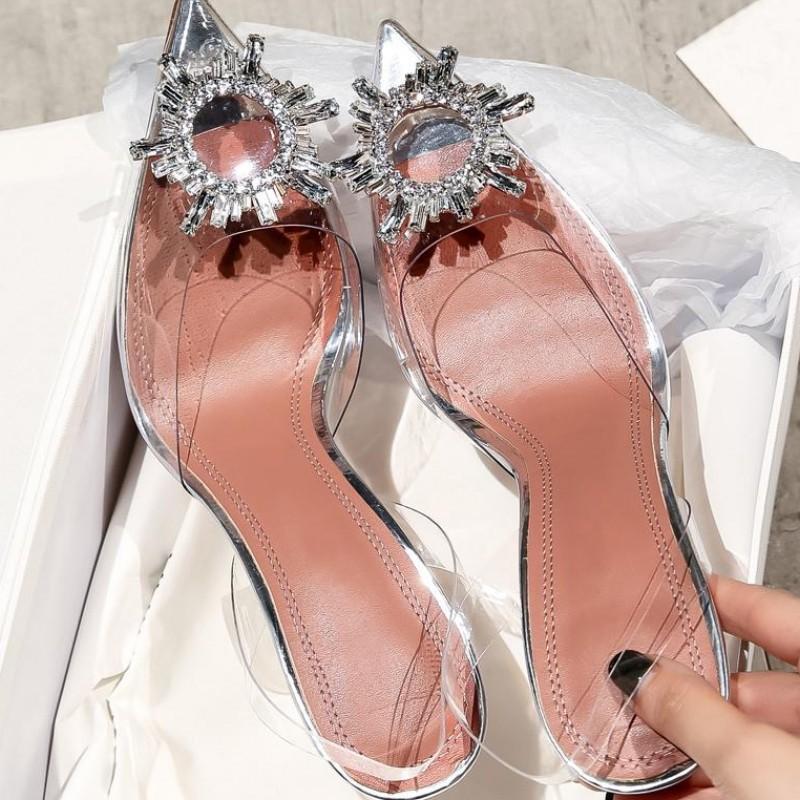 2021 다이아몬드 샌들 샤인 캡 발가락 발 뒤꿈치 팁 여성 싱글 신발 여름 크리스탈 요정 바람