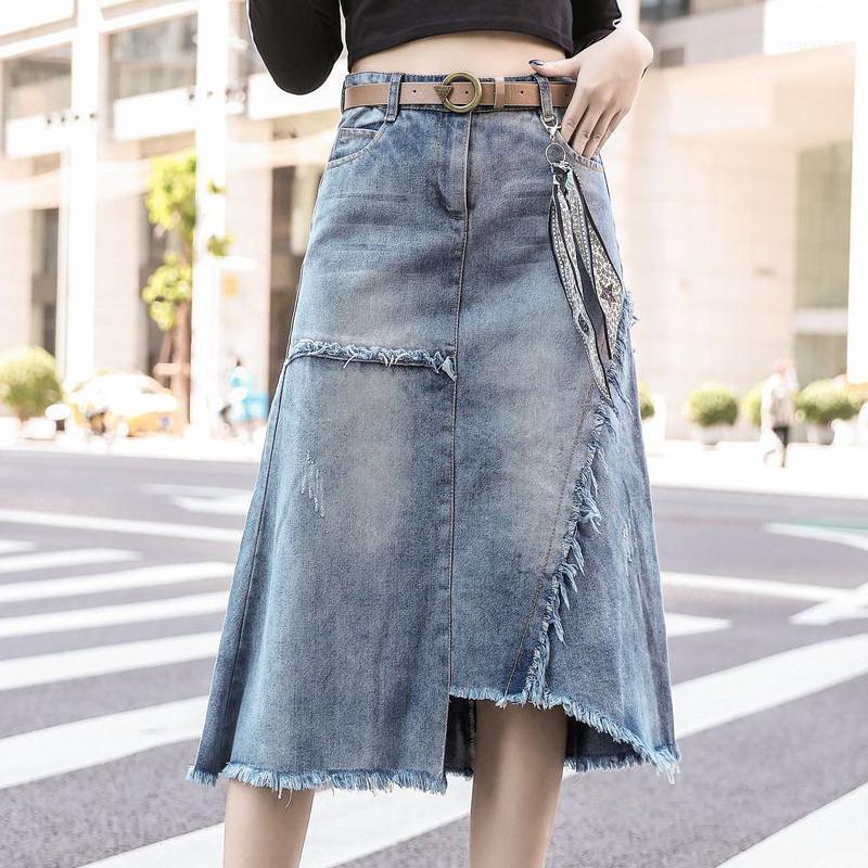 Plus Size 5XL Denim Skirt Women Skirts Womens Summer Sexy Mid High Waist With Belt Jean Skirt Female Jupe Falda Fashion 201911