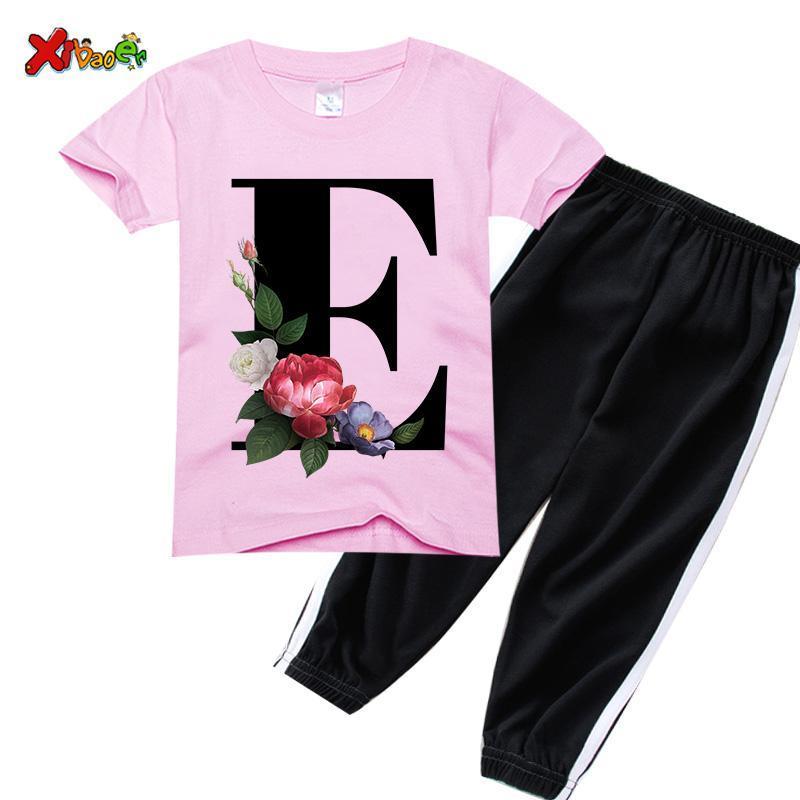 Unisex Summer T-shirts Conjuntos Moda Alphabet Girls Tshirts Retro Boy Tshirt Flores Niza Cuello redondo Niños Trajes Ropa